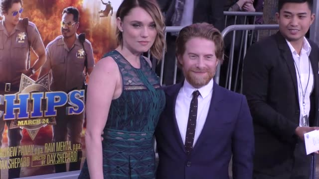 "seth green & clare grant at the ""chips"" los angeles premiere at tcl chinese theatre on march 20, 2017 in hollywood, california. - tcl chinese theatre stock videos & royalty-free footage"