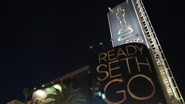 seth macfarlane giant picture as host for 85th academy awards 2013 academy awards preparations at dolby theatre on february 20, 2013 in los angeles,... - the dolby theatre stock videos & royalty-free footage