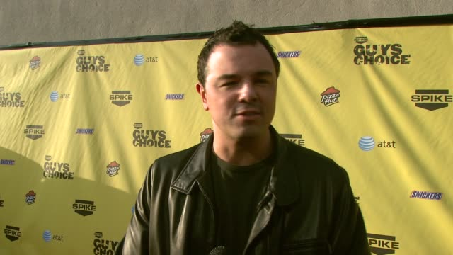 seth macfarlane on attending the event and the 'guyish' atmosphere at the spike tv's guys' choice awards at radford studios in los angeles california... - 2007 stock videos & royalty-free footage