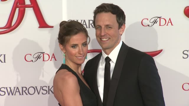 seth meyers and alexi ashe at 2012 cfda fashion awards arrivals on 6/04/2012 in new york ny united states - seth meyers stock videos and b-roll footage