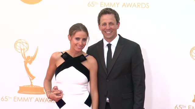 seth meyers and alexi ashe at 65th annual primetime emmy awards arrivals seth meyers and alexi ashe at 65th annual at nokia theatre la live on... - seth meyers stock videos and b-roll footage