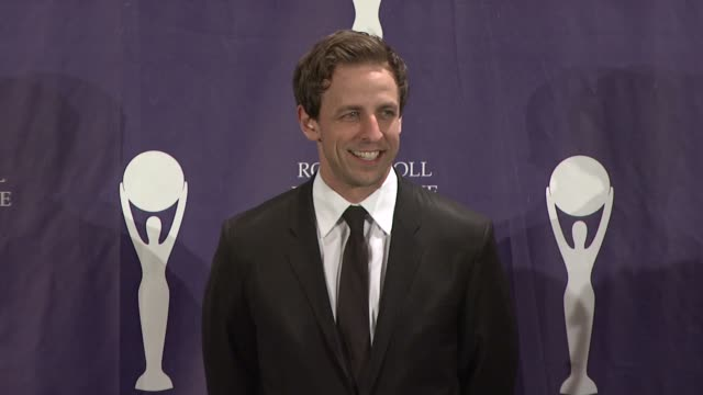 seth meyers at the 23rd annual rock and roll hall of fame induction ceremony press room at the waldorf astoria in new york new york on march 10 2008 - seth meyers stock videos and b-roll footage