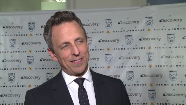 interview seth meyers on what it means to be here at the natural resources defense council presents night of comedy benefit hosted by seth meyers at... - seth meyers stock videos and b-roll footage