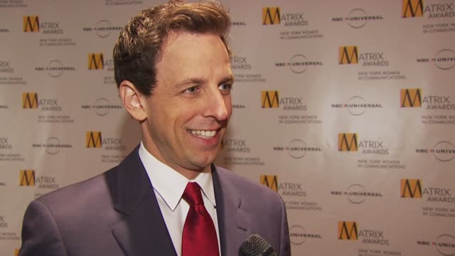 seth meyers talking about being at the women's luncheon his relationship with tina and presenting the award to her at the 2009 matrix awards at new... - seth meyers stock videos and b-roll footage