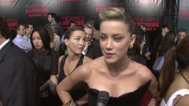 Seth Rogen Amber Heard at the 'Pineapple Express' Premiere at Los Angeles CA