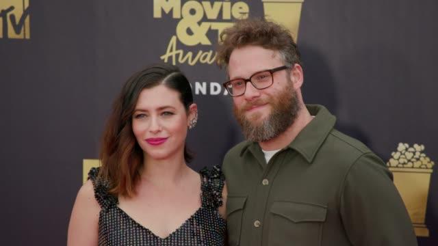 Seth Rogen and Lauren Miller at 2018 MTV Movie TV Awards Arrivals> at Barker Hangar on June 16 2018 in Santa Monica California