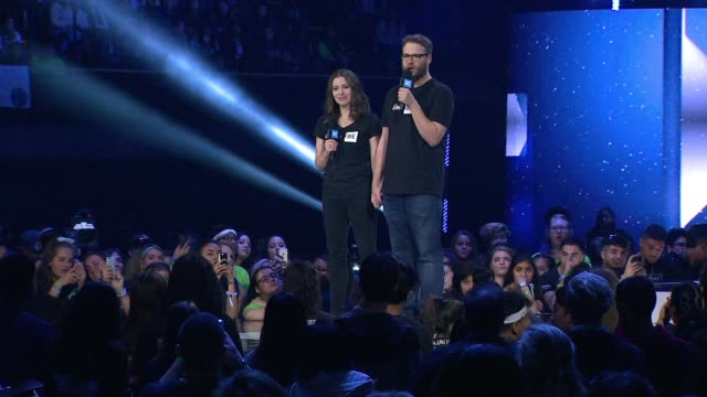 speech seth rogen and lauren miller at we day california at the forum on april 07 2016 in inglewood california - inglewood stock videos and b-roll footage