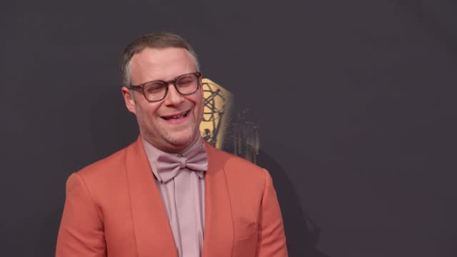 seth rogen arrives to the 73rd annual primetime emmy awards at l.a. live on september 19, 2021 in los angeles, california. - emmy awards stock videos & royalty-free footage