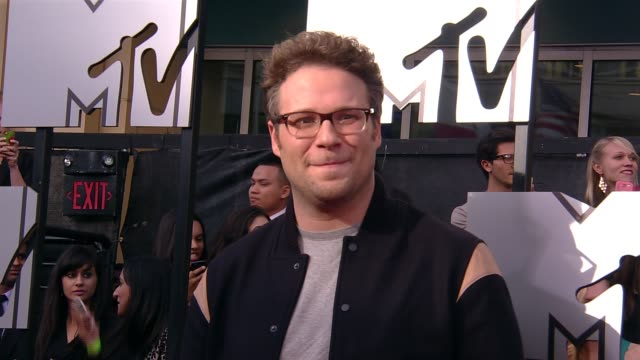 seth rogen at the 2014 mtv movie awards at nokia theatre la live on april 13 2014 in los angeles california - seth rogen stock videos and b-roll footage