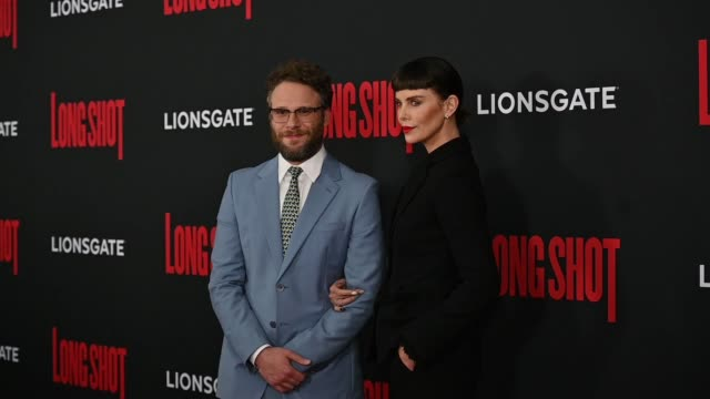 seth rogen charlize theron at the long shot new york premiere at amc lincoln square theater on april 30 2019 in new york city - seth rogen stock videos and b-roll footage