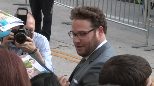 seth rogen greets fans at the this is the end premiere in westwood 06/03/13 - seth rogen stock videos and b-roll footage