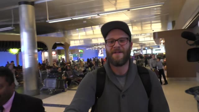 interview seth rogen jokes with paparazzi while arriving at lax airport in los angeles in celebrity sightings in los angeles - seth rogen stock videos and b-roll footage