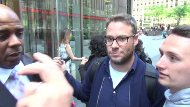 seth rogen leaving siriusxm satellite radio poses for photos with fans in new york city in celebrity sightings in new york - seth rogen stock videos and b-roll footage