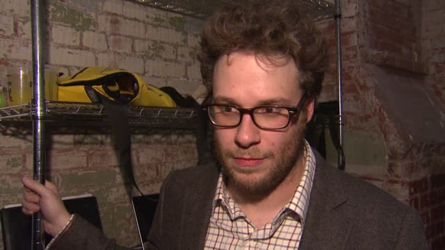 seth rogen on how this event came about how long he's been working on it on how the thinks it turned out on doing this again at hilarity for charity... - seth rogen stock videos and b-roll footage