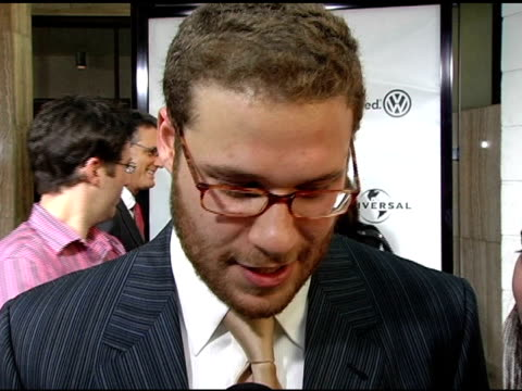 seth rogen on why this storyline is so appealing on researching adult virgins and what those people seem to be like at the 'the 40yearold virgin'... - arclight cinemas hollywood stock videos and b-roll footage