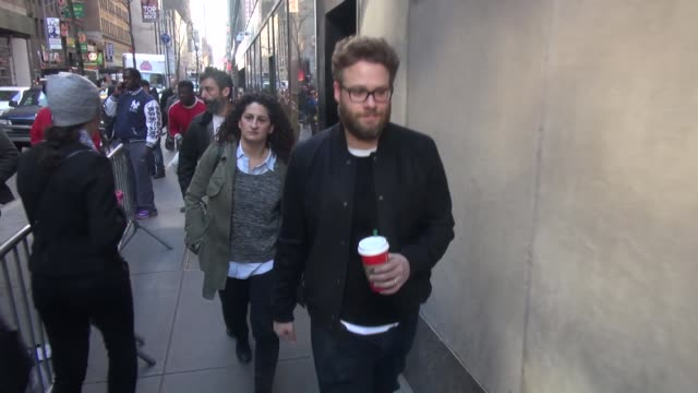 seth rogen promoting 'the night before' arrives at the 'today' show in celebrity sightings in new york - seth rogen stock videos and b-roll footage