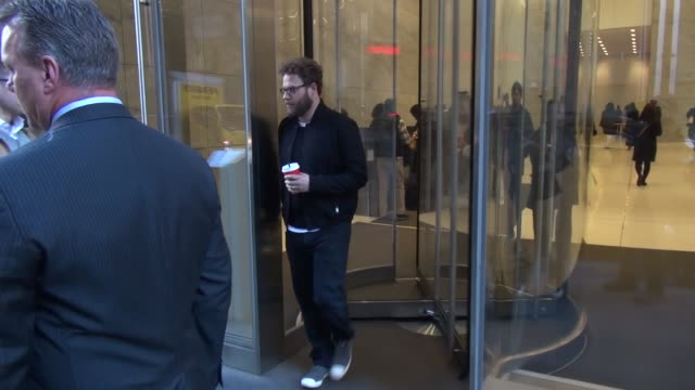 seth rogen promoting 'the night before' leaving the howard stern show at siriusxm satellite radio in celebrity sightings in new york - seth rogen stock videos and b-roll footage