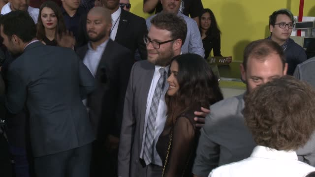 seth rogen salma hayek at sausage party premiere in los angeles ca - salma hayek stock videos and b-roll footage