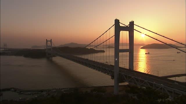 Seto Ohashi Bridge at dusk