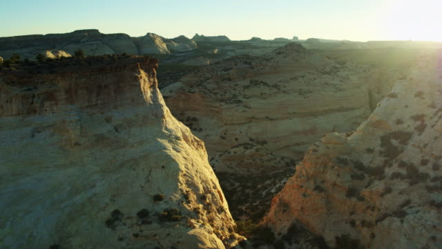 setting sun in the san rafael swell - drone shot - san rafael swell stock videos and b-roll footage