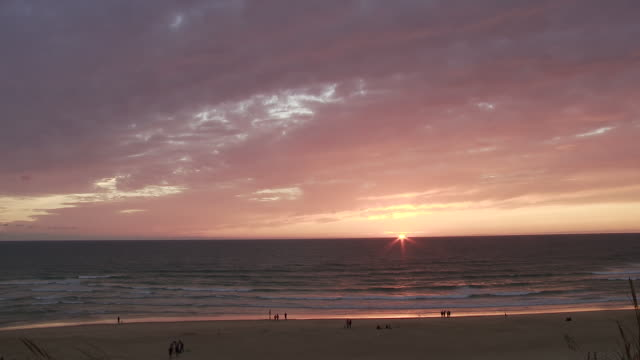 ws setting sun on atlantic coast in southern france / cap de l'homy, aquitaine, france - aquitaine stock videos and b-roll footage