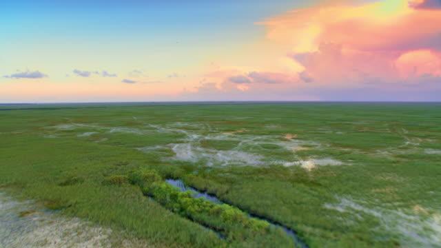 エバーグレーズ、フロリダ、アメリカの海に反射する空中設定太陽 - エバーグレーズ国立公園点の映像素材/bロール