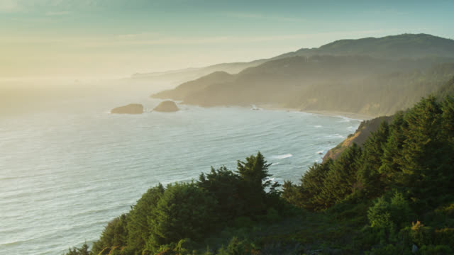 stockvideo's en b-roll-footage met setting sun shining through sea mist on the oregon coast near house rock - oregon coast