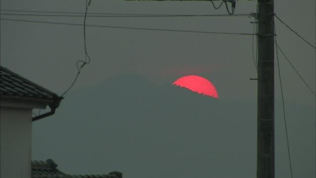 setting sun - satoyama scenery stock videos & royalty-free footage