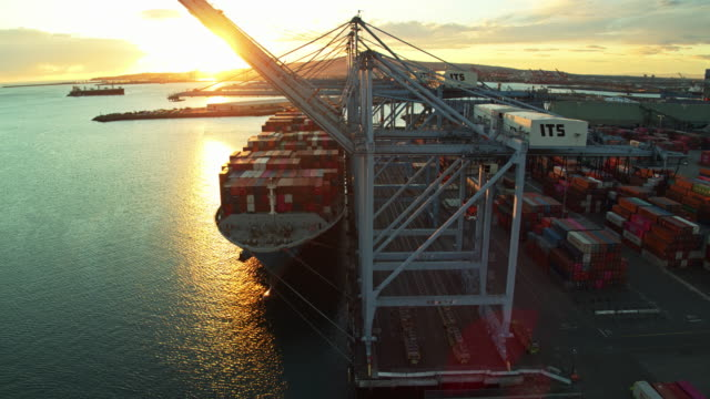 setting sunlight on the water between piers in the port of long beach - aerial - beladen stock-videos und b-roll-filmmaterial