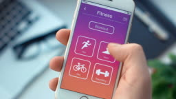 Setting swim timer on fitness app on the smartphone