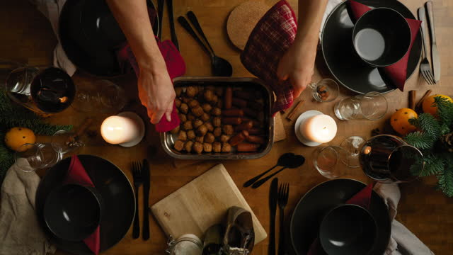 setting the table for christmas dinner - meatballs stock videos & royalty-free footage