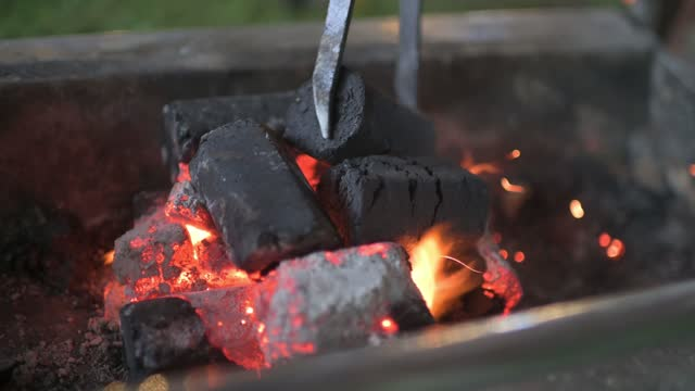 setting up fire for bbq flipping charcoal - coal stock videos & royalty-free footage