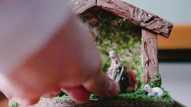 "setting up the ""presepe"" or manger - human representation stock videos & royalty-free footage"