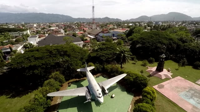 seulawah aircraft was the first airplane of republic of indonesia after its independence the dakota donated by acehnese people to help for... - airplane part stock videos and b-roll footage