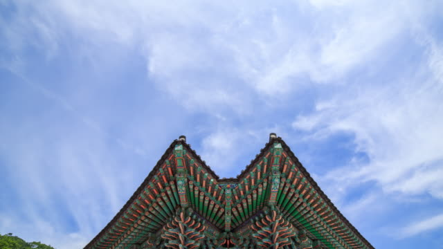 seungbojeon hall's  eaves in songgwangsa temple - eaves stock videos and b-roll footage