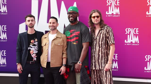 """sev ohanian, archie davis, and ludwig göransson attend the premiere of warner bros """"space jam: a new legacy"""" at regal live on july 12, 2021 in los... - space jam stock videos & royalty-free footage"""