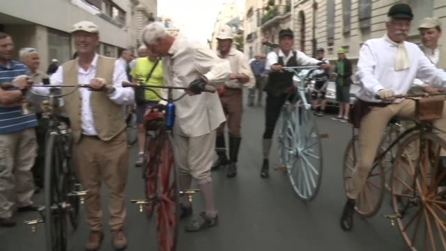 seven bike enthusiasts set off from the french capital saturday on old fashioned bikes headed for avignon to carry out the journey made by four... - 1865 stock videos & royalty-free footage