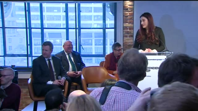 seven labour mps resign from the party to form new group england london lambeth county hall int luciana berger mp at podium - lambeth stock videos & royalty-free footage