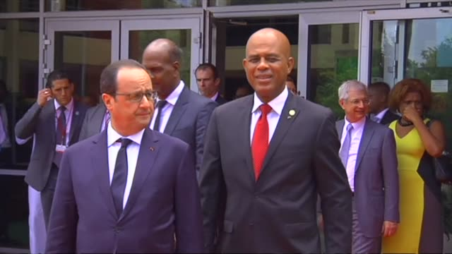 seven months before a major climate summit in paris french president françois hollande attends a caribbean climate change meeting in martinique - french overseas territory stock videos & royalty-free footage