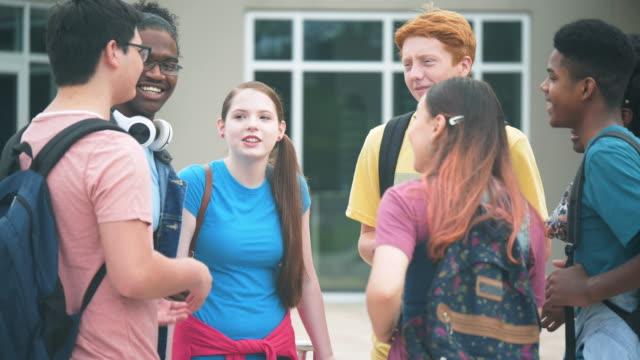 stockvideo's en b-roll-footage met zeven multi-etnische middelbare schoolstudenten die in gesprek zijn - 14 15 years