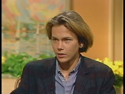 seventeen-year-old actor river phoenix says he is usually treated like an actor and not a teenager. - リバー フェニックス点の映像素材/bロール