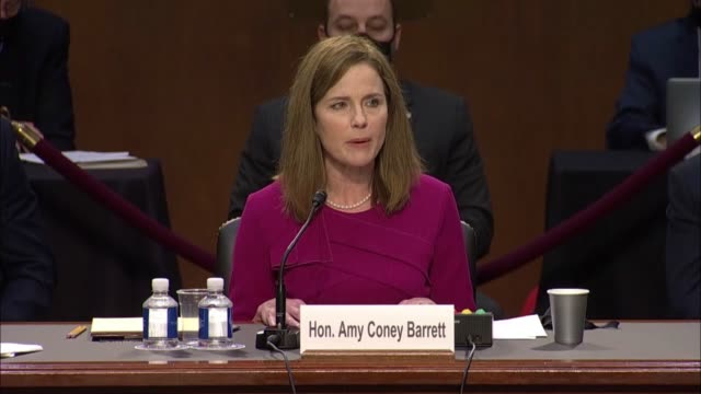 seventh circuit judge amy coney barrett says in her opening statement to the senate judiciary committee on first day of her senate judiciary... - court hearing stock videos & royalty-free footage