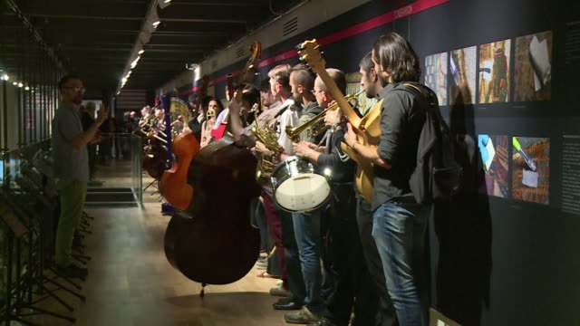 seventy musicians have played for eight hours in the new museum of egyptian antiquities in turin launching a festival of jazz with us composer... - museum video stock e b–roll