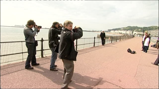 seventyyearold grandfather breaks world record as oldest person to swim english channel allsopp posing for press photocall roger allsopp interview sot - world record stock videos and b-roll footage