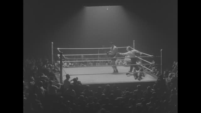 several action shots of fight between jack gardner and johnny williams including shots of retired welsh heavyweight tommy farr watching in crowd /... - boxing ring stock videos & royalty-free footage