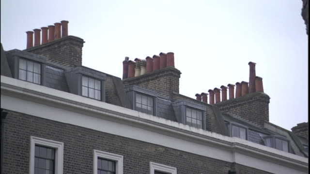 Several chimneys top a building.
