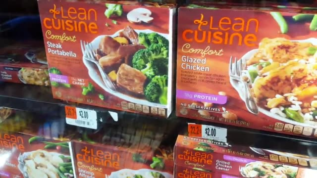 Several clips of recalled food products including DiGiorno pizzas and Lean Cuisine frozen meals at a local grocery store Nestle USA is voluntarily...
