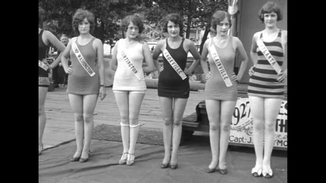 stockvideo's en b-roll-footage met vs several contestants in beauty contest wearing names of ohio towns on sashes and winner mildred schroeder / note exact month/day not known - badkleding