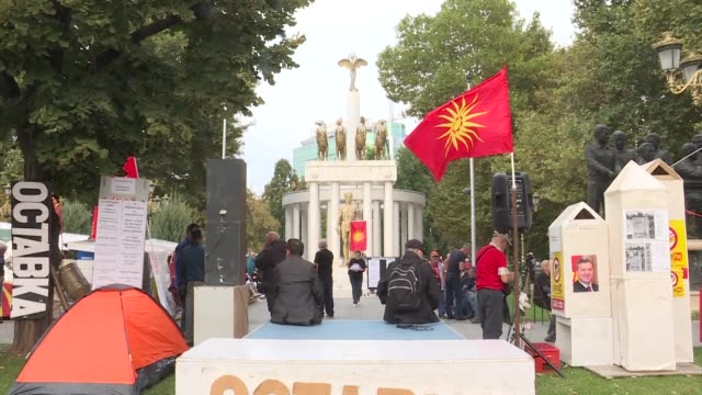several dozen gather outside macedonian's parliament to call for a boycott of a referendum that could change the country's name to north macedonia - dozen stock videos & royalty-free footage