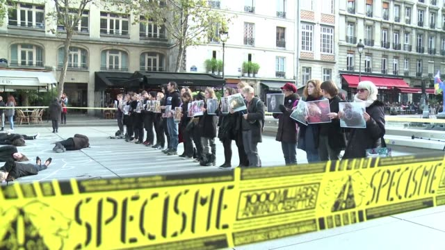 Several dozen members of PETA and Vegan Impact on Wednesday organized a demonstration near Beaubourg to raise public awareness of veganism